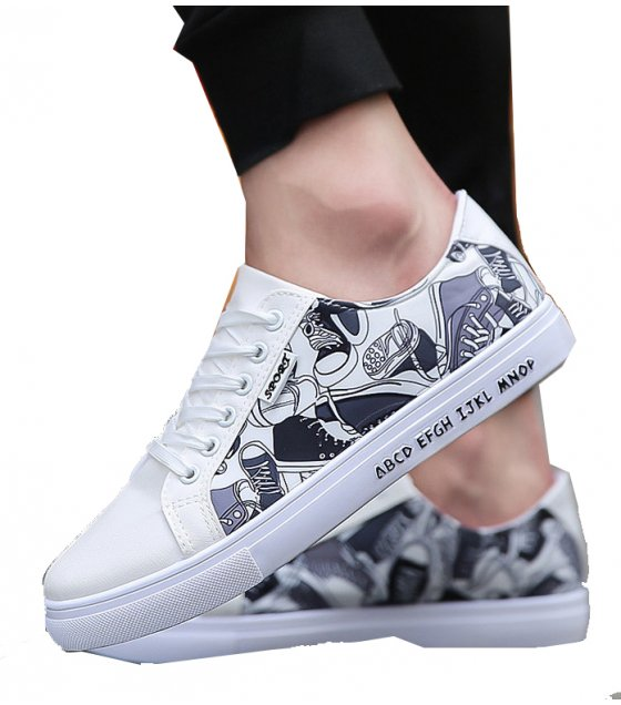 MS175 - Causal Black Pattern Shoes