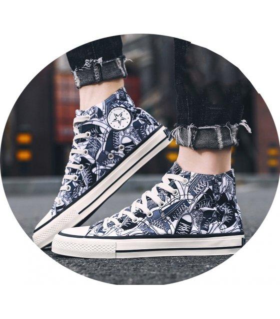 MS559 - Graffiti high-top canvas shoes