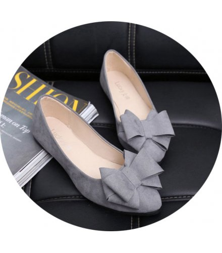 SH077 - Pointed Flat Bow Black Shoes