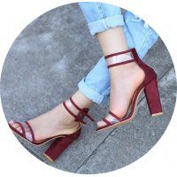 SH078 - Rome crystal belt buckle Heels