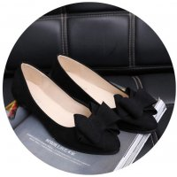 SH094 - Pointed Flat bow black work shoes