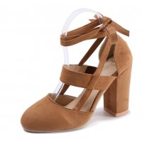 SH100 - High Heeled Suede Foot Ring Strap Shoes