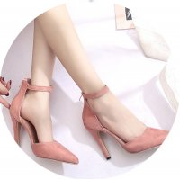 SH103 - Suede Back zipper Hollow pointed Shoes