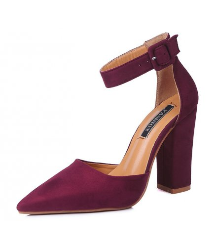 SH105 - High heels pointed buckle hollow shoes