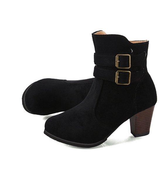 SH129 - Buckle side zipper women's boot