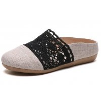 SH135 - Retro Linen Hollow Flat Sandals
