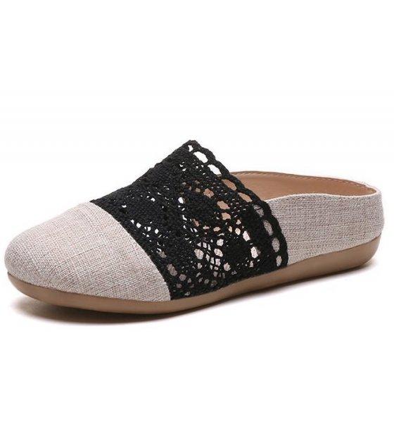 SH135 - Retro Linen Hollow Flat Sandals
