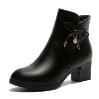 SH136 - Thick heel middle heel side zipper short boots
