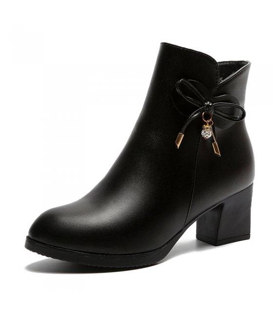 SH136 - Thick heel middle heel side zipper short boots