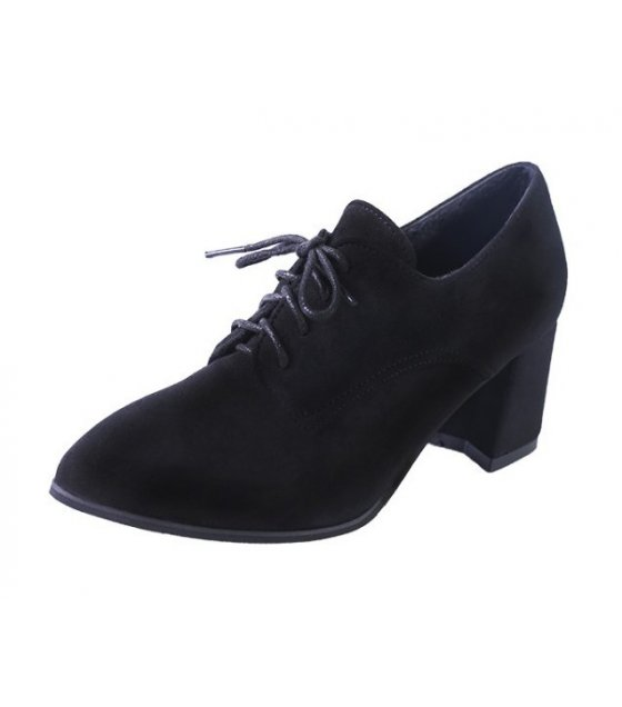 SH148 - Autumn thick heel pointed lace up short boots