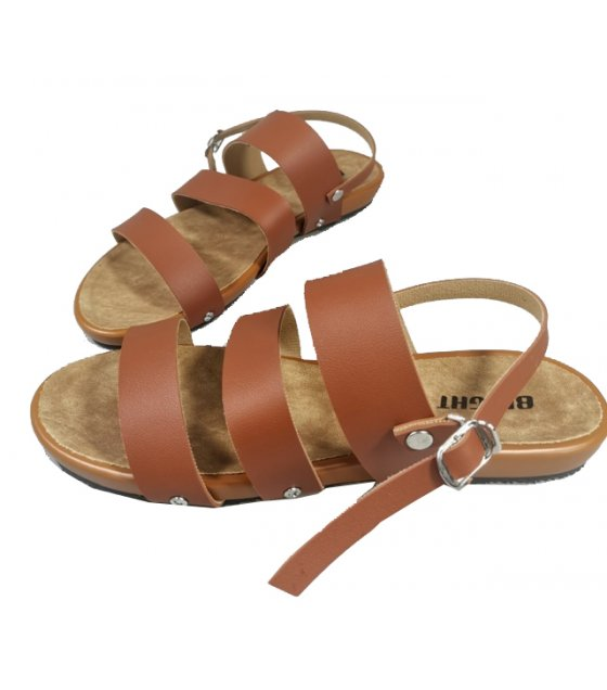 SH162 - Buckle Triple Strap Slide Sandals