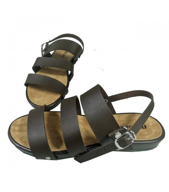 SH164 - Buckle Triple Strap Slide Sandals