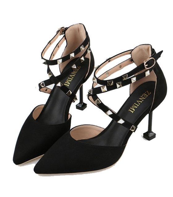SH218 - Square heel rivet high heel sandals