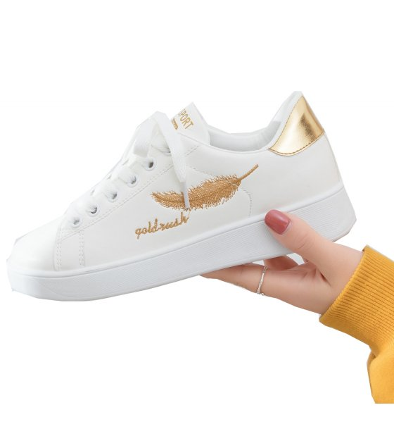SH224 - Embroidered leaves light white shoes