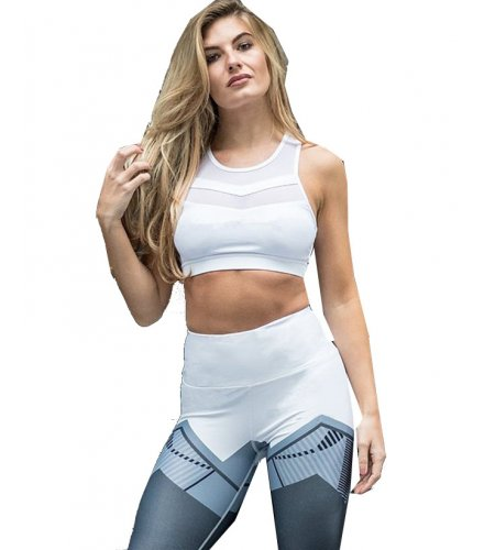 SA091 - Block Geometric Skinny Elastic Waist Yoga Leggings