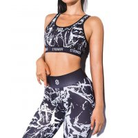 SA169 - Sports Top and Striped Leggings Set