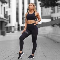 SA170 - Sports Top and Striped Leggings Set