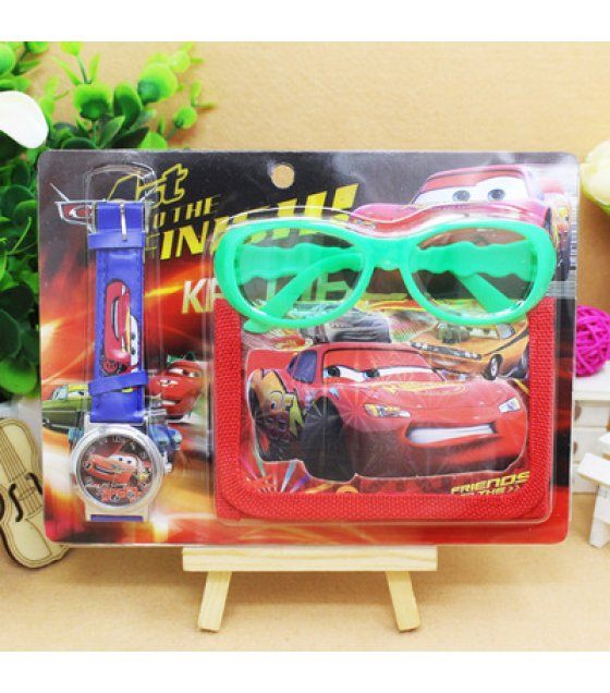ST011 - CARS Toy Set Watch Wallet Glasses