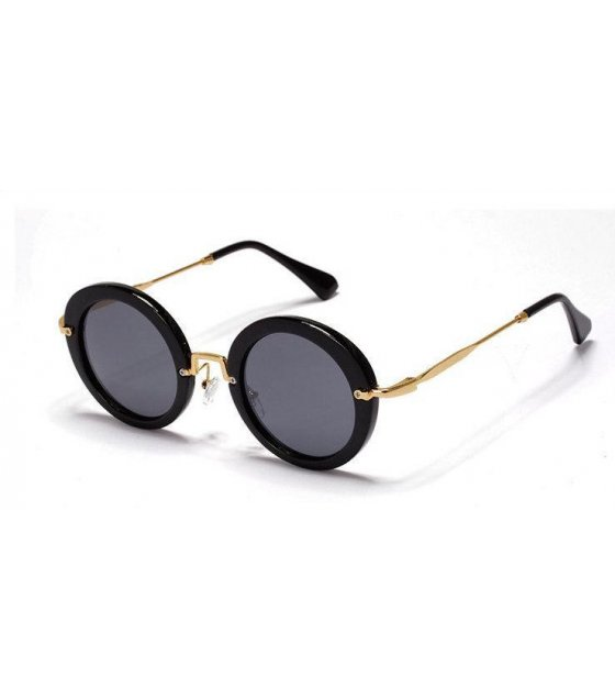 SG108 - Retro round Bright Black sunglasses