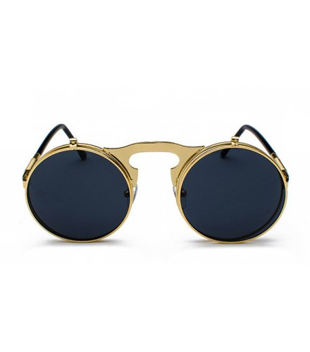 SG484 - Retro metal steampunk flip sunglasses