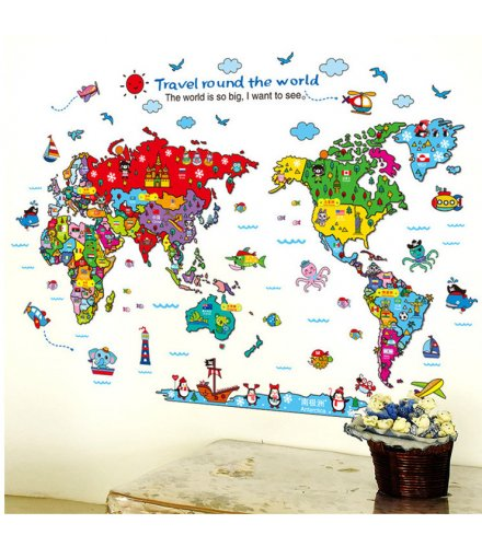 WST102 - Colorful Map Wall Sticker