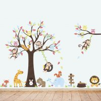 WST063 - Monkey zoo swinging wall sticker