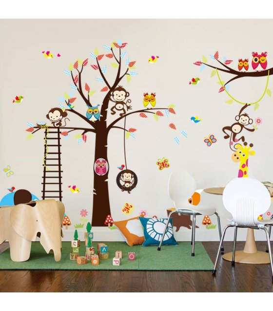 WST064 - Owl monkey kindergarten room wall stickers