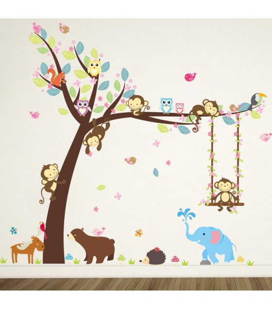WST066 - Monkey swing Wall Sticker