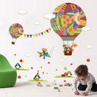 WST068 - Creative cartoon hot air balloon Wall sticker