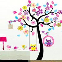 WST072 - Curved owl elephant Wall Sticker