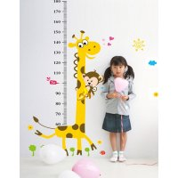 WST078 - Cute giraffe monkey height sticker