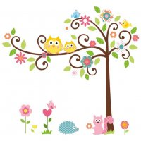 WST082 - Cartoon owl tree children's room wall stickers