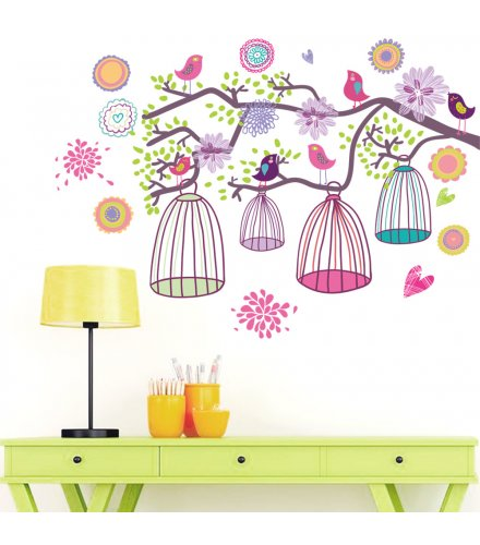 WST096 - Bird cage branches decorative stickers