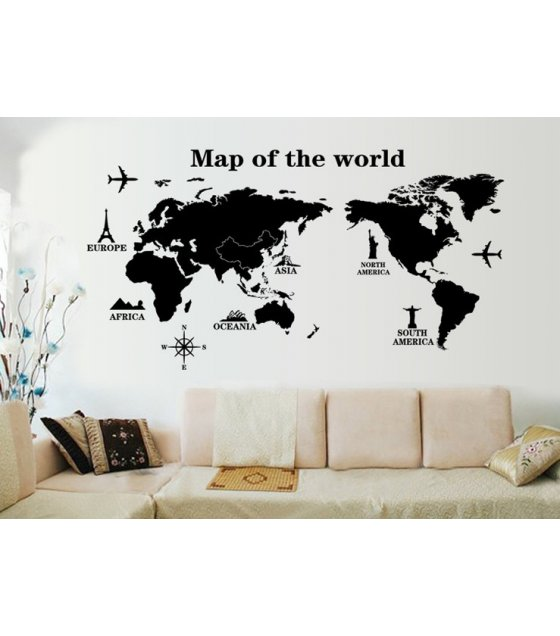 WST002   World Traval Map Design Decals Vinyl Black Wall Sticker