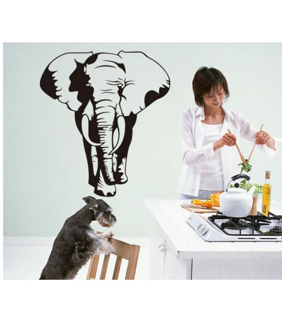 WST007 - African Elephants Trees Vinyl Wall Stickers