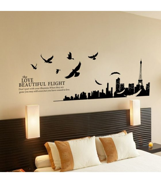Wst008 paris eiffel tower love beautiful flight wall sticker