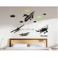 WST013 - 3D European Black Airplane Removable Wall Sticker