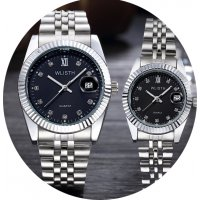 CW002 - Luxury Silver Black Couple Watches