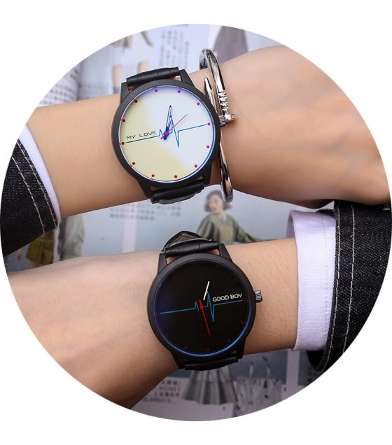 CW010 - Black & White PU Leather Couple Watches