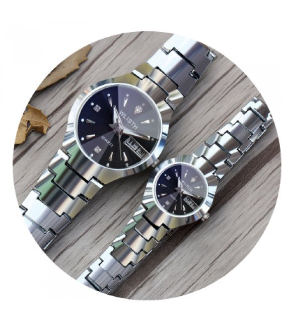 CW013 - Midnight Black And Silver Couple watch