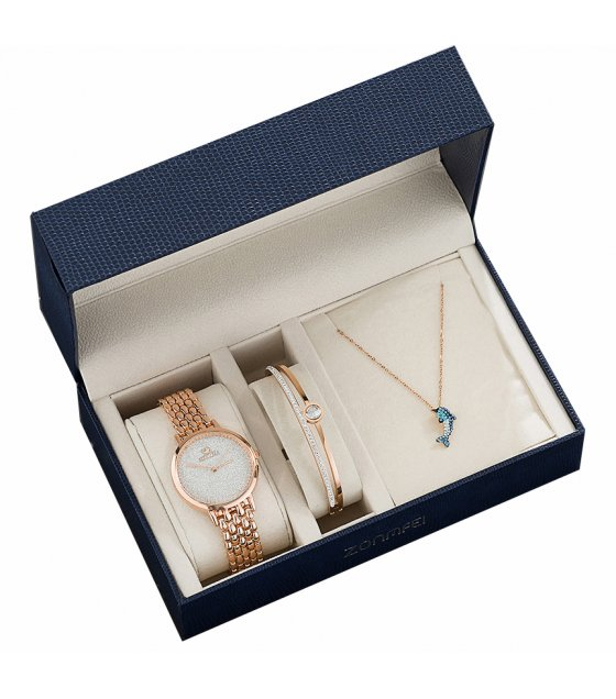 CW047 - Set of Quartz Watch Bracelet And Necklace Gift Set