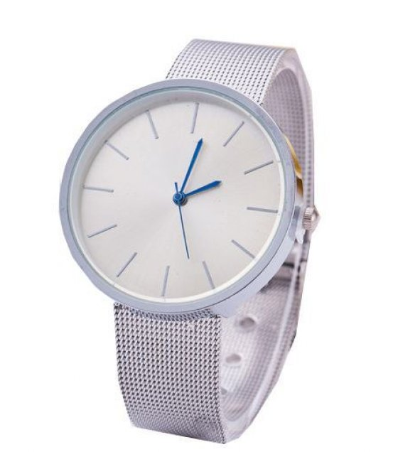 W1015 - Silver White Dial Clear Watch