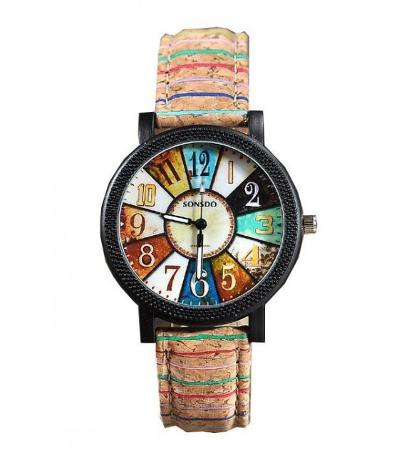 W1091 - Colorful PU leather strap watch