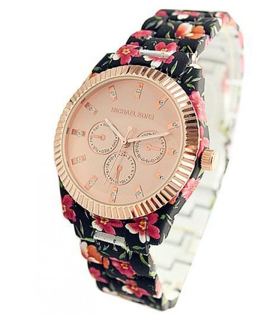 W1244 - Black Floral Watch