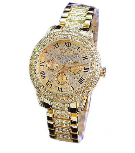 W1261 - Gold Rhinestone MK Watch