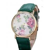 W1336 - Floral PU leather watch
