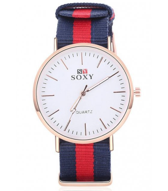 W1591 - Soxy Red & Blue Striped Watch