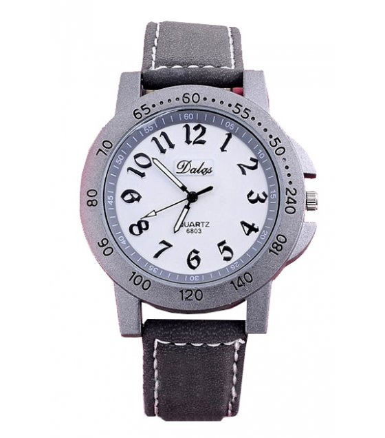 W1878 - PU leather strap white dial watch