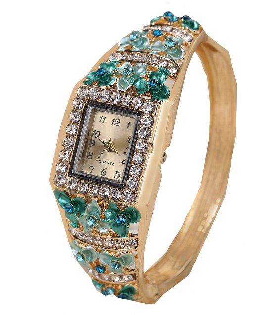 W1918 - Green Gemstone Bracelet Watch