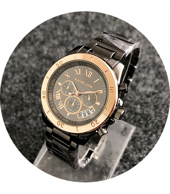 W2183 - Black & Rose Gold Mixed MK Watch